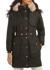 Barbour Whitebeam Waxed Cotton Faux Fur Trim Coat