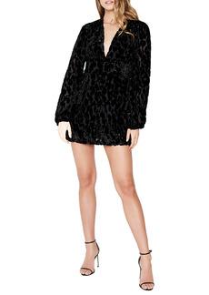 Bardot Burnout Velvet Long Sleeve Minidress