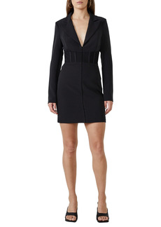 Bardot Corset Waist Long Sleeve Minidress