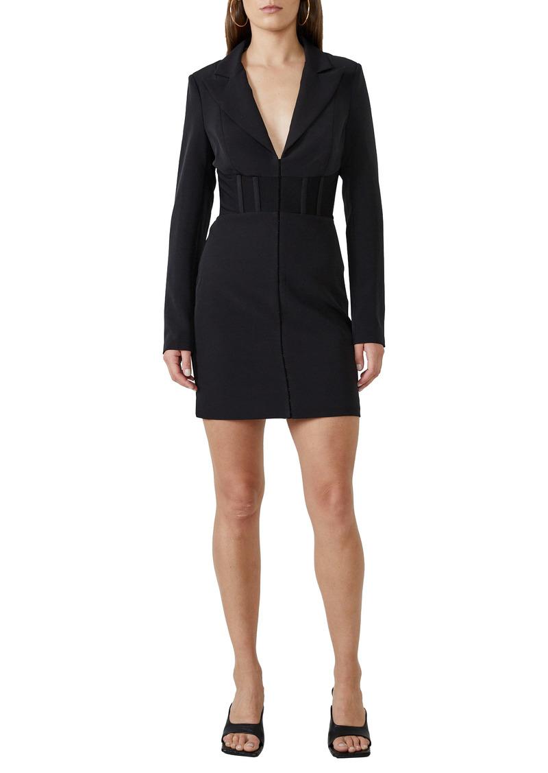 Bardot Corset Waist Long Sleeve Minidress