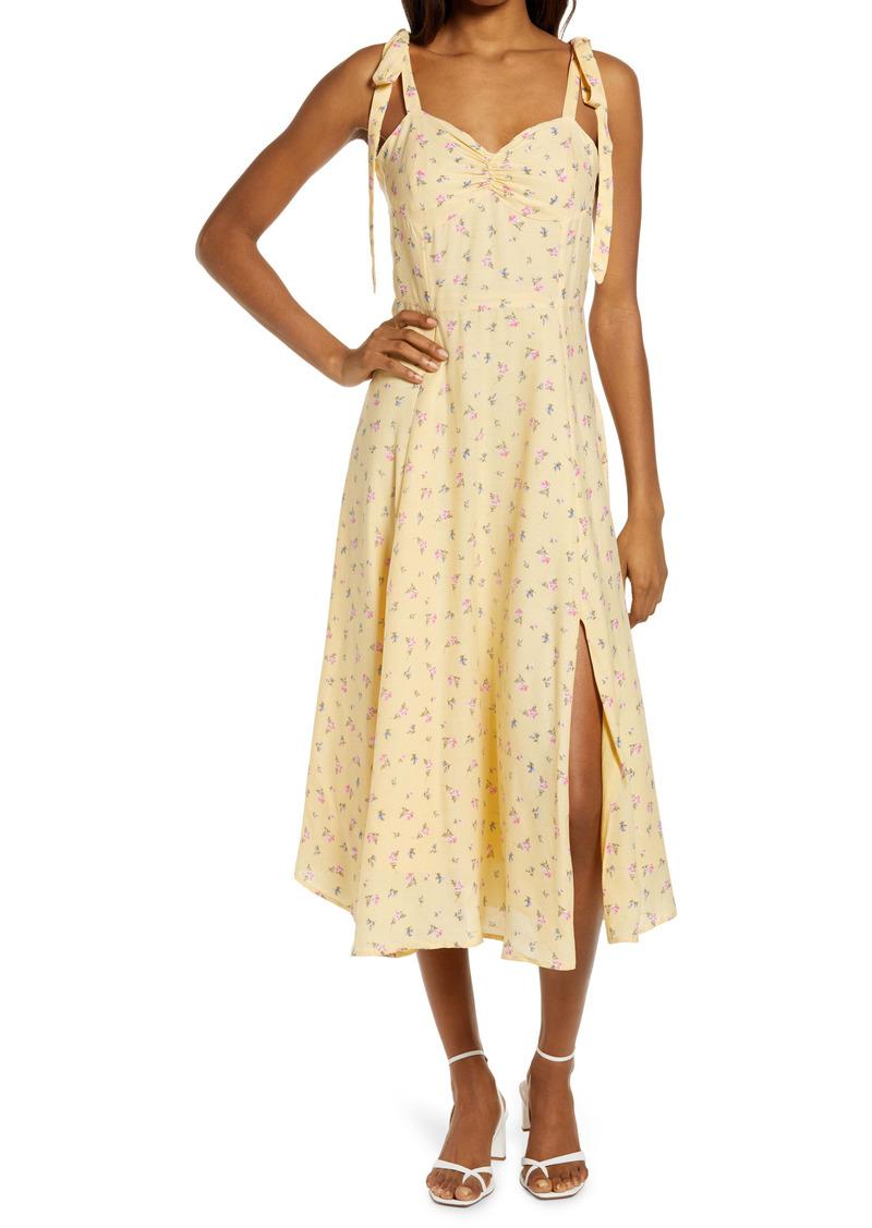 Bardot Floral Ditsy Tie Shoulder Midi Dress