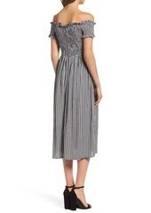 Bardot Gingham Off the Shoulder Midi Dress
