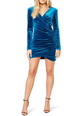 Bardot Isla Ruched Stretch Velvet Long Sleeve Minidress