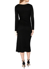 Bardot Lanika Ribbed Long Sleeve Midi Dress