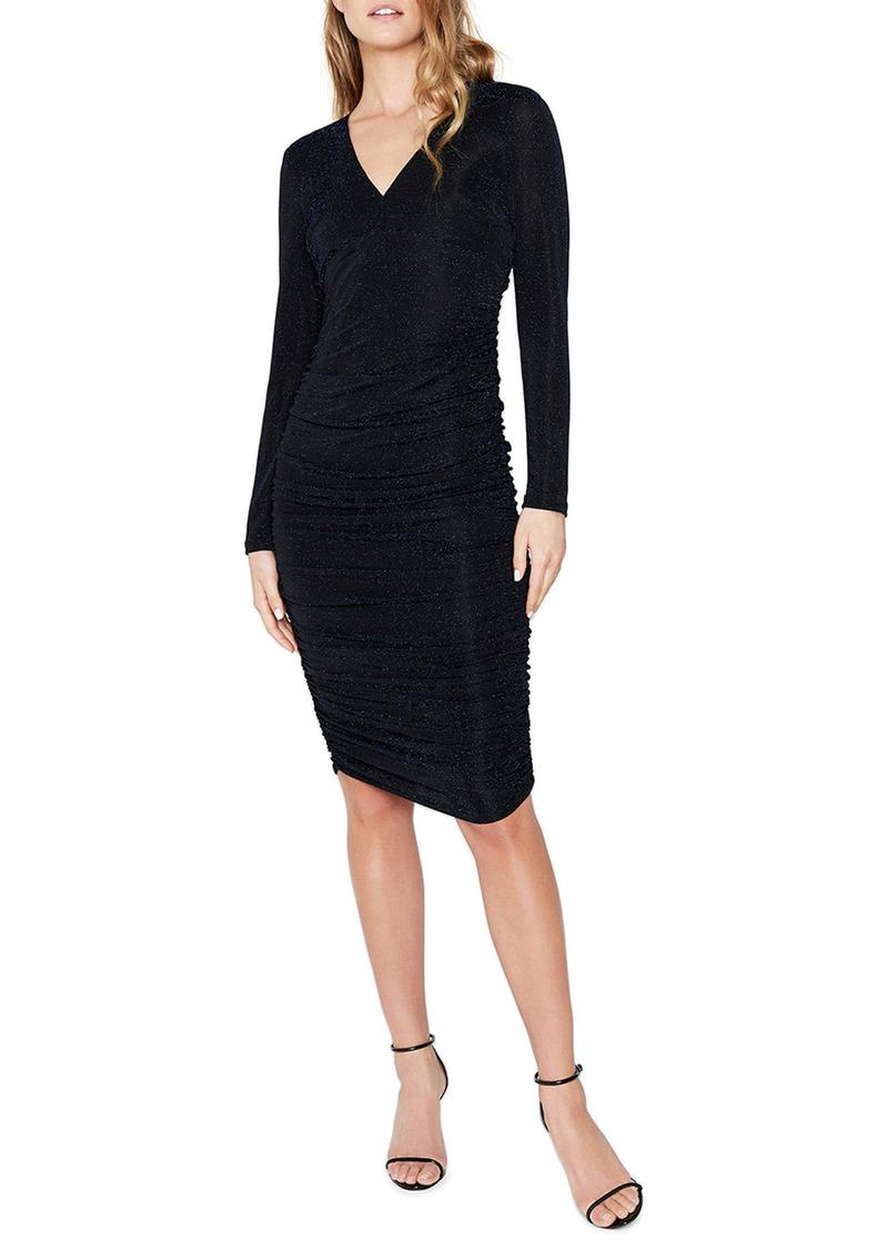 Bardot Long Sleeve Metallic Knit Sheath Dress
