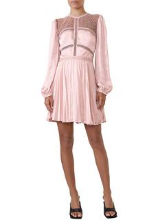 Bardot Olivia Crochet Lace & Satin Long Sleeve Minidress