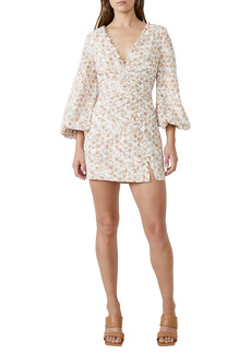 Bardot Printed Broderie Long Sleeve Minidress