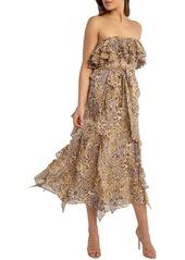 Bardot Rumi Leopard Print Strapless Chiffon Midi Dress