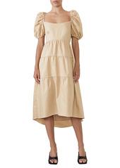Bardot Tiered Bow Back Midi Dress