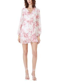 Bardot Triple Frill Floral Long Sleeve Faux Wrap Dress