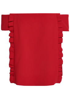 Ba&sh Woman Arob Off-the-shoulder Ruffle-trimmed Ponte Top Red