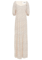 Ba&sh Woman Bahia Gathered Printed Crepe Maxi Dress Blush