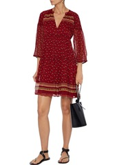 Ba&sh Woman Bailey Printed Georgette Mini Dress Brick