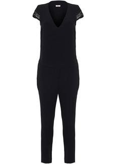 Ba&sh Woman Bonbon Cropped Macramé-trimmed Crepe Jumpsuit Black