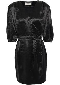 Ba&sh Woman Camil Crinkled-satin Mini Wrap Dress Black