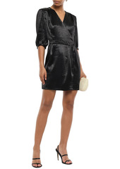 Ba&sh Woman Camil Crinkled-satin Mini Wrap Dress Black