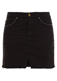 Ba&sh Woman Cloe Frayed Studded Denim Mini Skirt Black