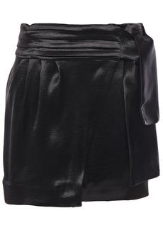 Ba&sh Woman Cobalt Crinkled-satin Mini Wrap Skirt Black