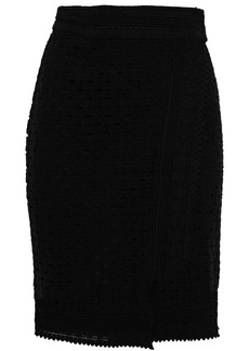 Ba&sh Woman Cold Crocheted Cotton Wrap Skirt Black