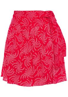 Ba&sh Woman Cortese Printed Gauze Mini Wrap Skirt Tomato Red