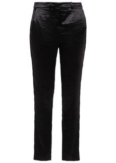 Ba&sh Woman Crinkled-satin Slim-leg Pants Black