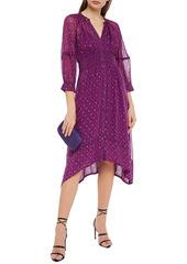 Ba&sh Woman Cyana Metallic Fil Coupé Printed Crepe De Chine Dress Violet