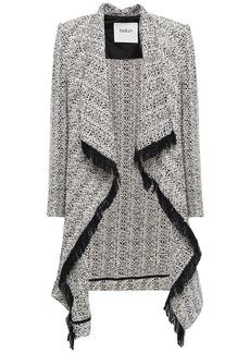Ba&sh Woman Draped Fringe-trimmed Cotton-tweed Jacket Off-white
