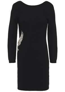 Ba&sh Woman Oia Crystal-embellished Wool And Cashmere-blend Mini Dress Black