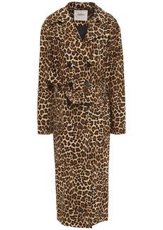 Ba&sh Woman Fauve Leopard-print Cotton Trench Coat Animal Print