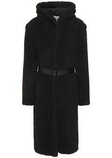 Ba&sh Woman Flilip Belted Faux Shearling Hooded Coat Black
