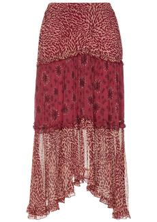 Ba&sh Woman Gapi Asymmetric Tiered Printed Crepon Midi Skirt Crimson
