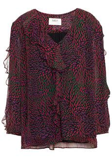 Ba&sh Woman Genn Ruffled Printed Crepon Blouse Violet
