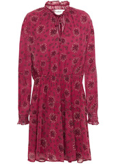 Ba&sh Woman Gize Shirred Floral-print Crepon Mini Dress Plum