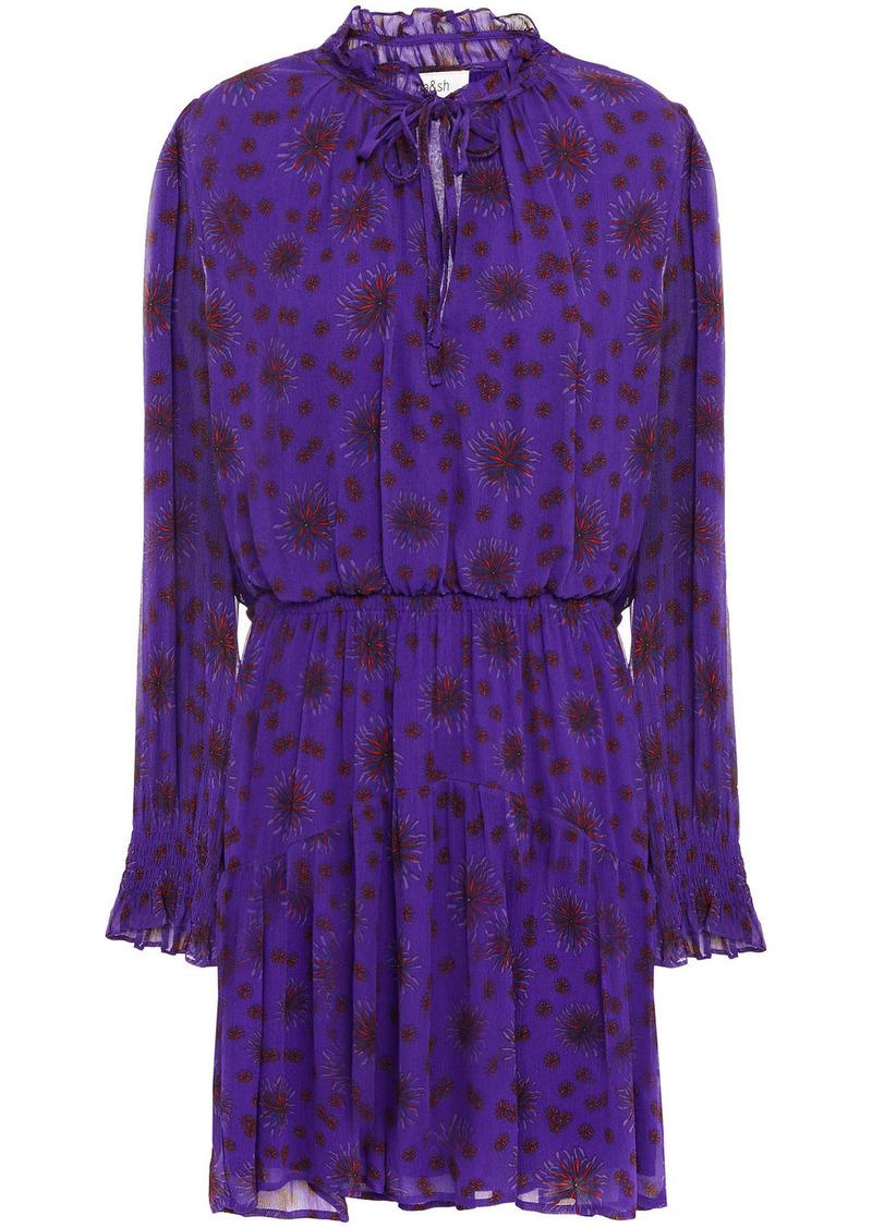 Ba&sh Woman Gize Shirred Floral-print Crepon Mini Dress Violet