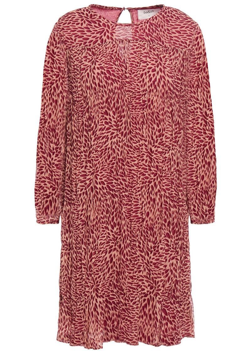 Ba&sh Woman Grace Pleated Printed Crepon Mini Dress Antique Rose