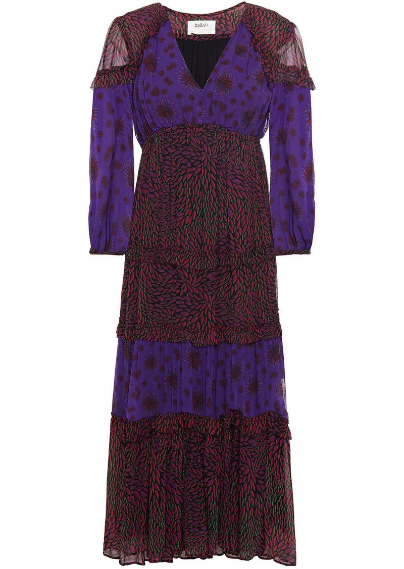Ba&sh Woman Gypsie Tiered Printed Crepon Midi Dress Violet