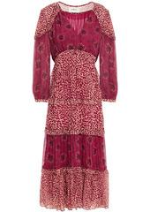 Ba&sh Woman Gypsie Tiered Printed Crepon Midi Dress Plum