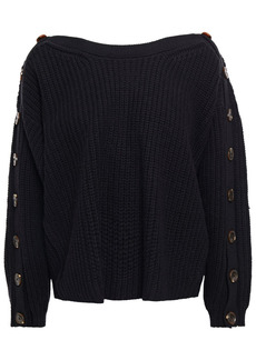 Ba&sh Woman Hades Button-detailed Ribbed Wool-blend Sweater Black