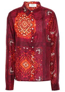 Ba&sh Woman Heelo Printed Silk Crepe De Chine Shirt Claret