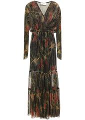 Ba&sh Woman Hend Metallic Floral-print Plissé-knitted Maxi Dress Black