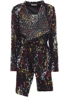 Ba&sh Woman Icare Belted Brushed Bouclé-knit Jacket Black