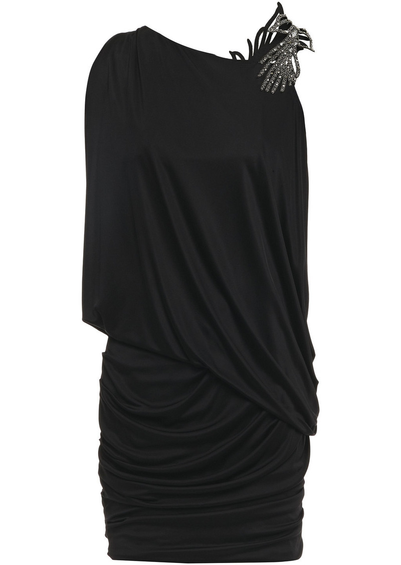 Ba&sh Woman Java Embellished Ruched Stretch-jersey Mini Dress Black