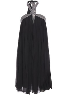 Ba&sh Woman Jing Crystal-embellished Silk-georgette Halterneck Mini Dress Black