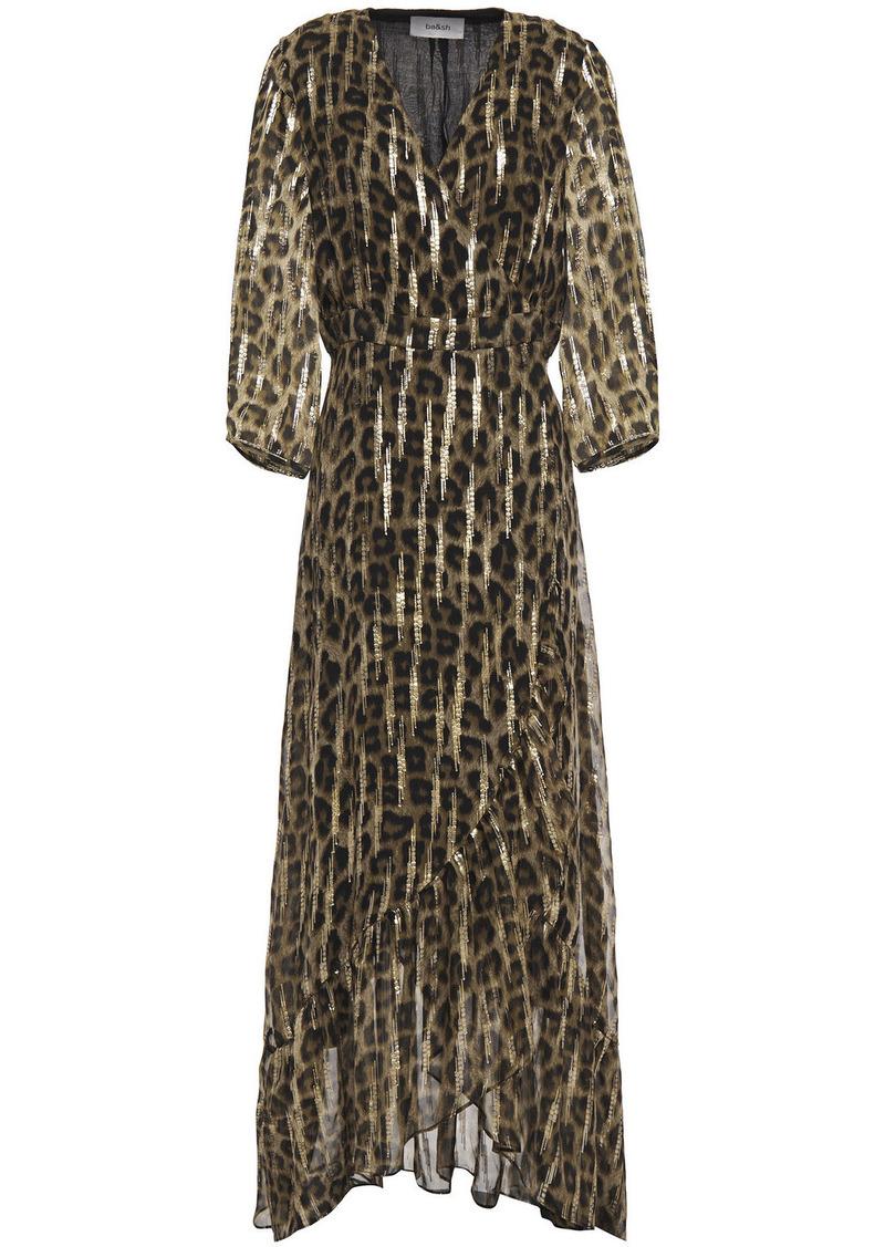 Ba&sh Woman Jisy Leopard-print Fil Coupé Silk-blend Georgette Maxi Wrap Dress Animal Print