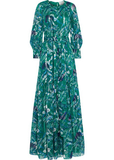 Ba&sh Woman Joie Metallic Printed Fil Coupé Silk-blend Maxi Dress Green