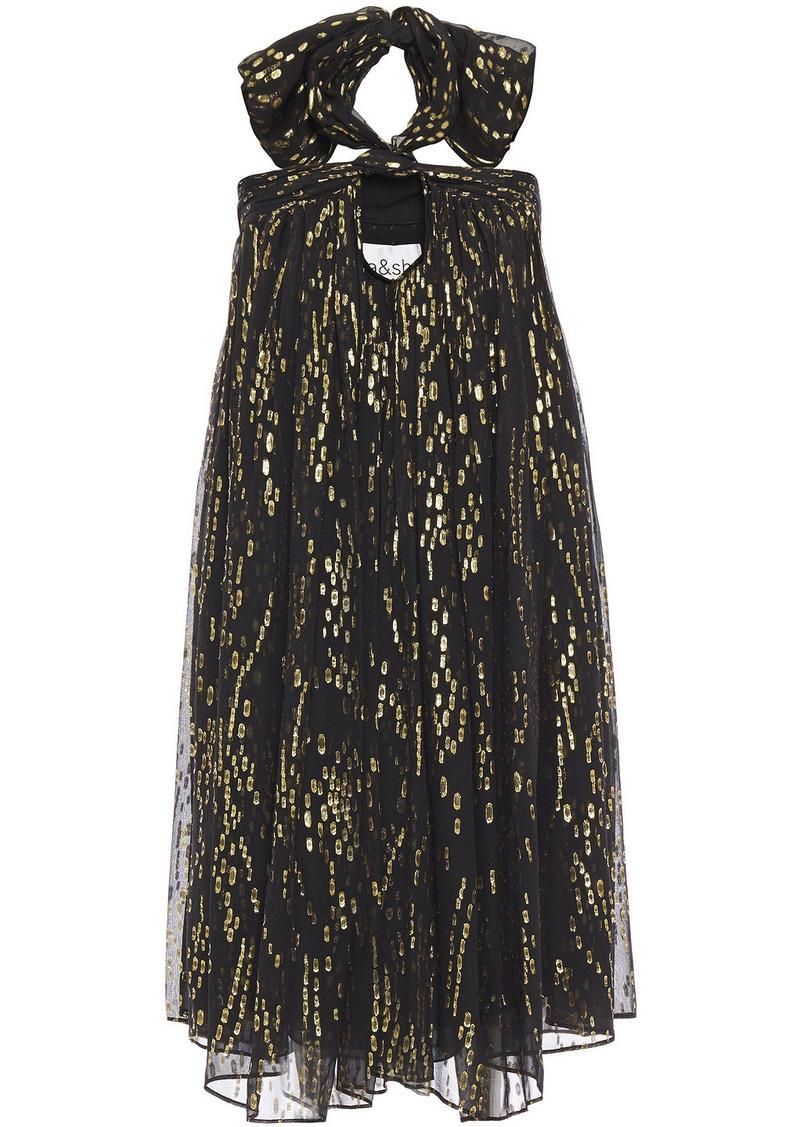 Ba&sh Woman Junon Metallic Fil Coupé Silk-blend Chiffon Halterneck Mini Dress Black