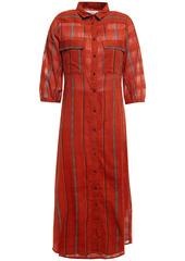 Ba&sh Woman Kinda Printed Cotton-jacquard Midi Shirt Dress Brick