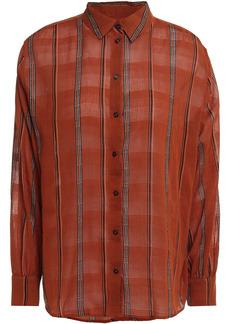 Ba&sh Woman Kris Gathered Striped Cotton-gauze Shirt Brick