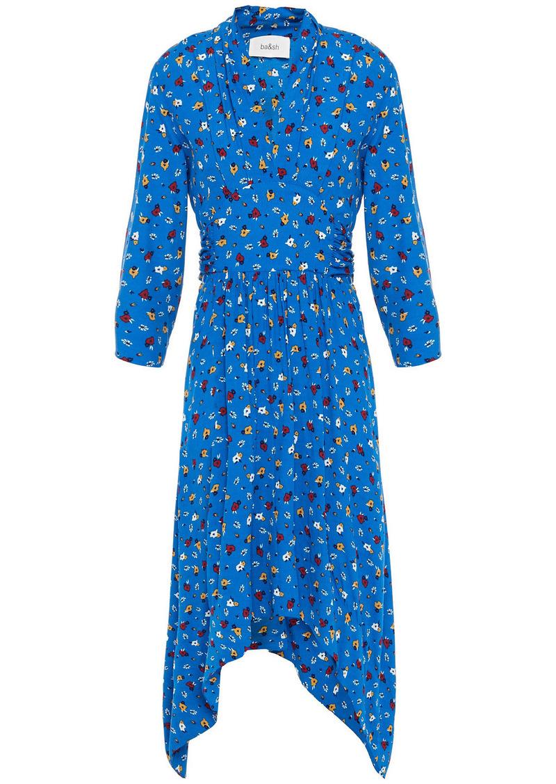 Ba&sh Woman Lilia Gathered Floral-print Crepe Dress Azure