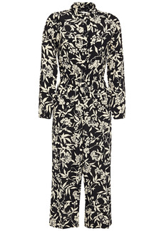 Ba&sh Woman Loni Cropped Floral-print Crepe Jumpsuit Black